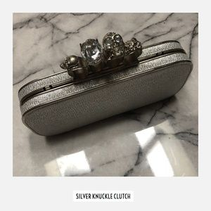 Handbags - Silver Knuckle Clutch